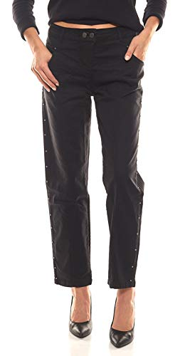LauRie Hose gecroppte Damen Stretch-Jeans mit Ziernähten Serena Freizeit-Hose Cropped-Jeans Schwarz, Größe:46