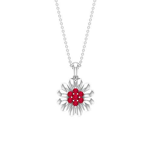 Collar de flores de rubí de 1/2 quilates, colgante de racimo, collar floral de oro (2,20 mm, 2,50 mm, rubí en forma redonda) de oro de 10 quilates rojo