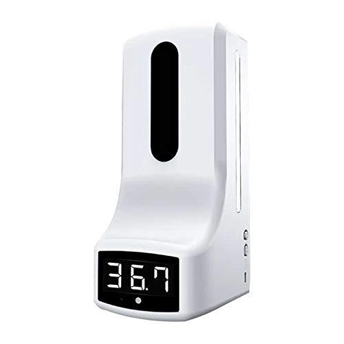 ZYC Nuevo Dispensador de jabón de Manos montado en la Pared con termómetro K9 Pro Máquina de desinfección con medición automática de Temperatura con Pantalla LCD de Alarma,K9