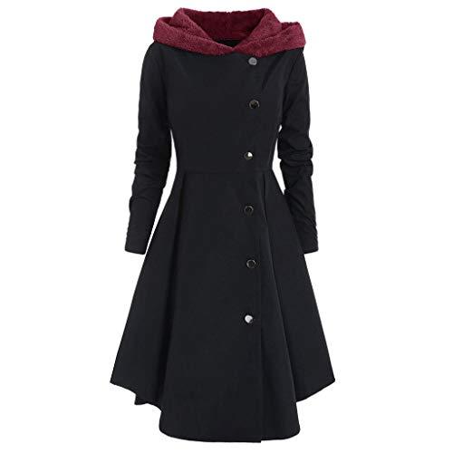 Lomelomme Winter Mantel Damen Elegant mit Kapuze Asymmetrischer Rock Slim fit Langarm Winterjacke Lang Künstliche Wolle Doppelten Breasted mit Knöpfe