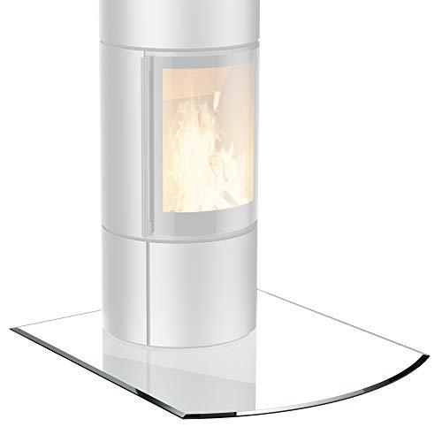bijon® Glasplatte für Kaminofen Segmentbogen mit Dichtlippe Glasbodenplatte - Funkenschutzplatte Glas | Kamin Hitzeschutz | 120 x 100 cm – 8 mm ESG Kamin-Bodenplatte