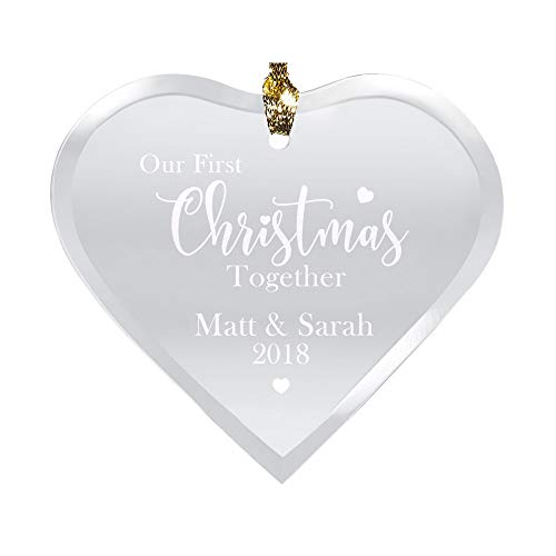 Let's Make Memories First Christmas Together Heart Glass Ornament