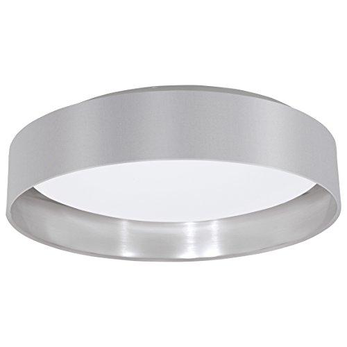 EGLO LED Deckenlampe Maserlo, 1 flammige Textil Deckenleuchte, Material: Stahl, Stoff, Kunststoff, Farbe: Grau, silber, weiß, Ø: 40,5 cm