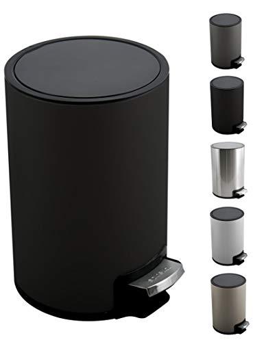 Spirella Kosmetikeimer 5 Liter Edelstahl mit Absenkautomatik und Inneneimer Riku Badezimmer Mülleimer Softclose Abfalleimer schwarz