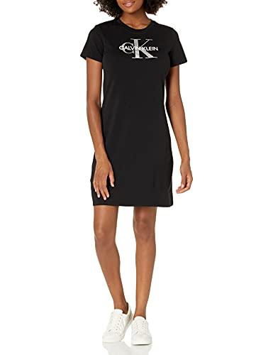 Calvin Klein Damen Short Sleeve Logo T-Shirt Dress Kleid, schwarz 1, Groß