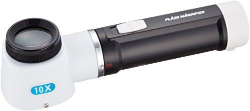 手持ちルーペ 倍率10倍 レンズ径30mm 0.5mm目盛り付き ライト付き 日本製 RF-100