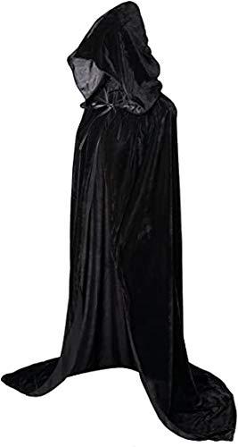 Geplaimir Umhang Schwarz Unisex mit Kapuze Lange Samtumhang Cape Vampir Kostüm Halloween Karneval Fasching 04BL