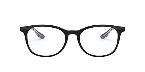 Ray-Ban RX5356 Square Prescription Eyeglass Frames, Black On Transparent/Demo Lens, 52 mm