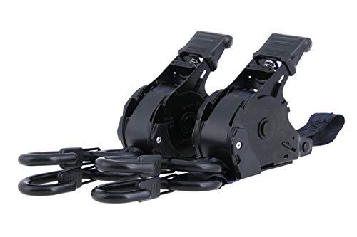 Sangles de tension automatiques en jeu de 2 I 3,65m de long, auto-rétractables, 25mm de large, LC 340 kg I Sangles à cliquet avec crochets en S enrobés dispositif de fixation, selon DIN EN 12195-2