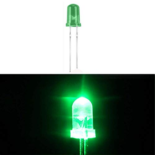 (100 Pcs) MCIGICM Green 5mm LED Light Diodes, LED Circuit Assorted Kit for Science Project Experiment (Green)