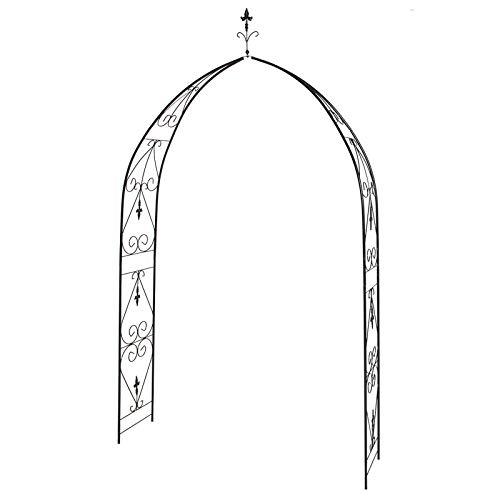 F-XW - Arco de jardín para exteriores, hierro enrejado de metal, resistente a la intemperie, para la pared, planta de escalada de césped, patio trasero de 150 cm de ancho x 250 cm de alto.