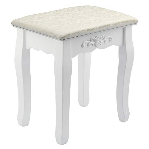 Mutiwill Dressing Table Stool Makeup Seat Baroque Piano Chair White