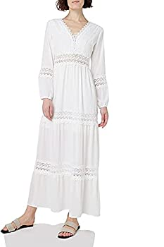 SUNJIN ACRO Women s Sexy Deep V Neck Elegant Lace Backless Long Sleeve Boho White Maxi Dress  White,Large/6-8