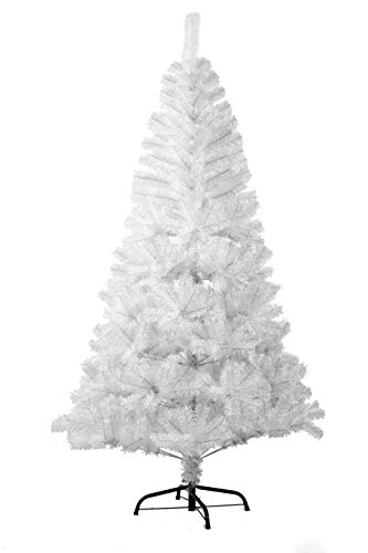 Bravich 7FT / 210CM WHITE Christmas Tree 800 Tips PVC Artificial Tree with Metal Stand Indoor Xmas Decoration Easy Fold Branch