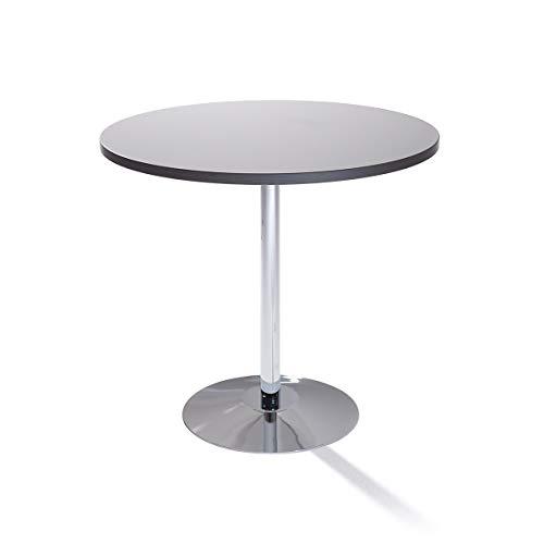Table à pied central - Ø 800 mm, hauteur 720 mm - aggloméré gris clair - Table de bistrot Table de cantine Table polyvalente Table ronde Table universelle Table à pied central Tables de bistrot