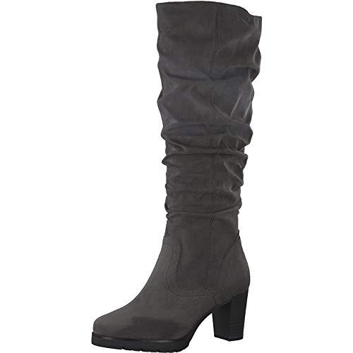 Tamaris Damen Stiefel Langschaft Blockabsatz 1-25558-25, Größe:39 EU, Farbe:Grau