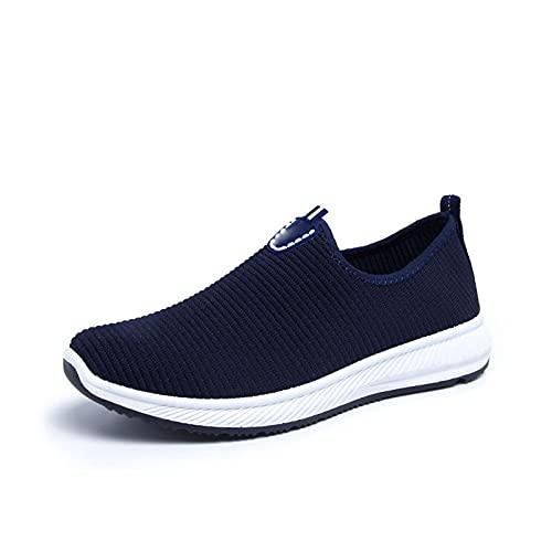 Haoooanfbx Alpargatas Hombre, Zapatos de Malla Liviana de Deslizamiento,Zapatos Casuales para Caminar cómodos Zapatillas de Deporte Masculinas Calzado (Color : Blue, Shoe Size : 42)