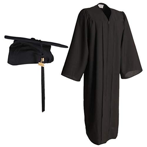 KESYOO Vestido de Graduación Negro 2020 Adulto para Soltero Vestido de Graduación Unisex Toga Y Birrete para Graduación 2020 para Ceremonia de Graduación - Talla 48Ff