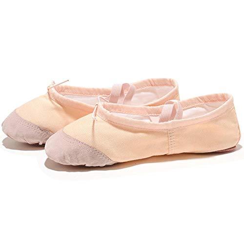 JJZZ Zapatillas Ballet niña 22-45 Zapatillas de Yoga con Cabeza de Cuero para Profesor, Gimnasio, Ejercicio Interior, Lona, Zapatos de Baile de Ballet Rosa para niños, niñas y Mujeres