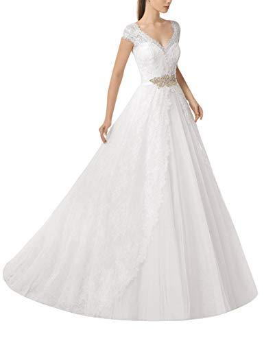 Abiti da Sposa Abito da Ballo Lungo da Donna in Pizzo Princess Bridal per Scollo a V da Spiaggia Bianco 34