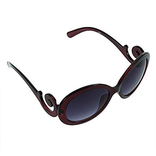 Ling Ling JIU-UK Gafas de Sol VintageGafas de solRetroRoundframeeyewear Moda Profesional Beautiful - Wine Red