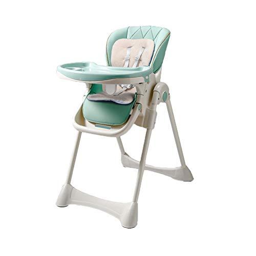 NSWDC Trona para bebé, Trona para bebé/con Bandeja Doble extraíble y arnés de Seguridad de 5 Puntos/Respaldo reclinable y Plegable,Verde