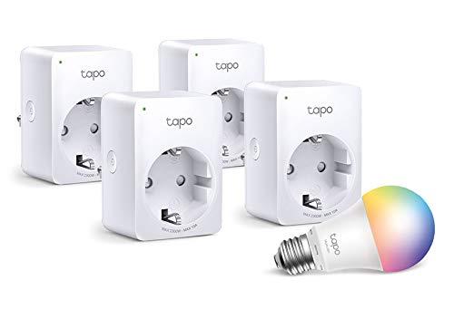 TP-Link Tapo WLAN Smart Steckdose Tapo P100, Smart Home WiFi Steckdose, Alexa Zubehör 4er pack, Kein Hub notwendig, Mini + WLAN Glühbirne E27, mehrfarbrig 8.7 W, kein Hub notwendig