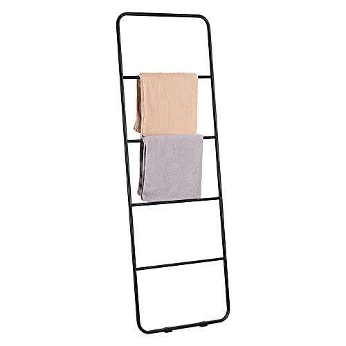 Navaris Toallero Escalera de Pared - Estantería Decorativa de escaleras con Barras para Colgar Toallas - Mueble para baño con 4X Barra y 5X Colgador