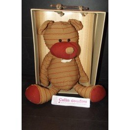 Histoire d'ours - Doudou histoire d'ours ours couture beige rayure rouge 38cms HO1075-3512