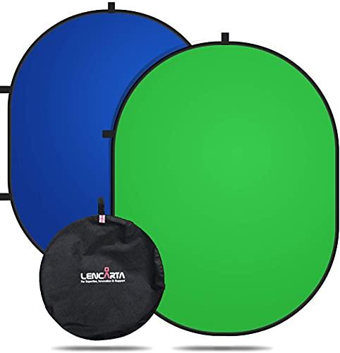 Chromakey Hintergrund/Hintergrund-Bildschirm Blau/Grün 100% Baumwolle Musselin Stoff Rechteck Doppelseitige Pop Up Hintergrund Perfekt für YouTube, Videobearbeitung, Filme 1.5x2M / 4.9x6.6FT