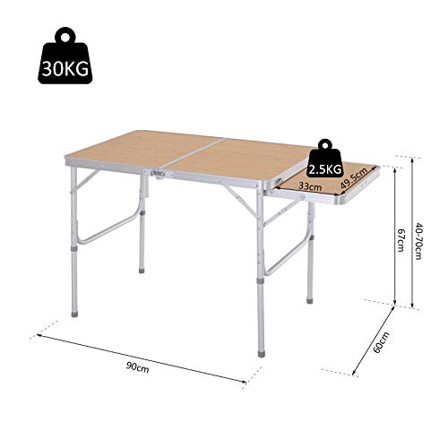 Outsunny 3ft Aluminium Picnic Table with Side Desktop Outdoor BBQ Party Portable Folding Lightweight