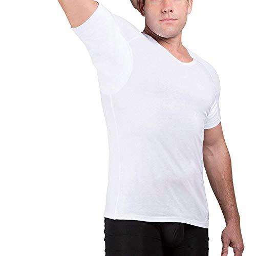 Ejis Schweißabwehr-Unterhemd | V-Ausschnitt | Achselschweißsichere Baumwolle (M, Weiß)
