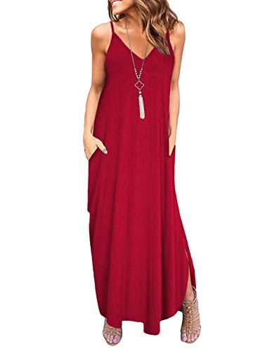 Odosalii Damen V-Ausschnitt Sommerkleid Blumen Maxikleid Ärmellos Strandkleid Boho Lange Kleid Partykleid mit Taschen L Weinrot