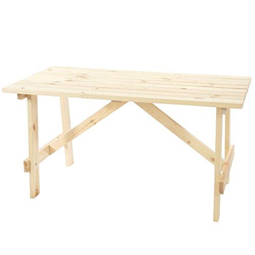 Table de Jardin Oslo, Table en Bois, qualité de Brasserie, 148x70 cm Bois Massif ~ Nature