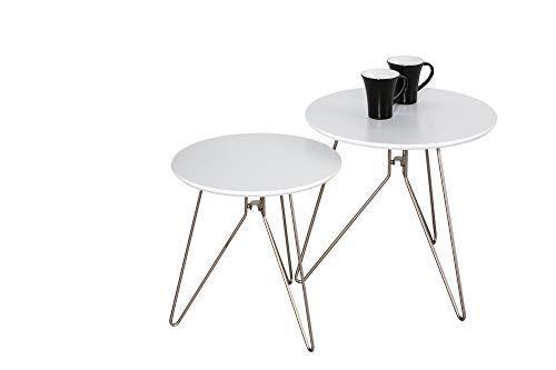 Alegro ronde side/koffie/eind/tafellamp, hout, wit, set van 2