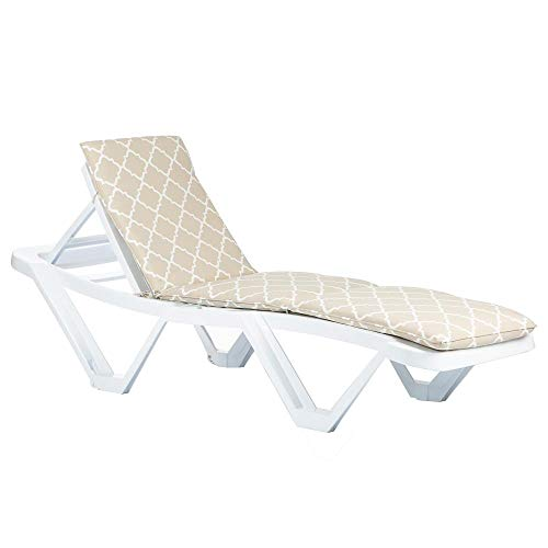 Resol Master Sun Lounger & Cushion Set - White/Beige Moroccan
