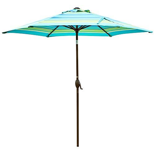 Abba Patio Outdoor Umbrella 9-Feet Table Umbrella with Push Button Tilt and Crank Lift, Turquoise Striped