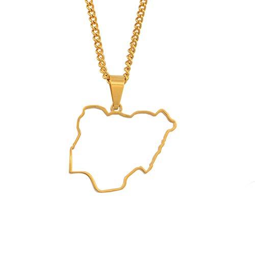nice cheng Nigeria esquema mapa colgante collares para mujeres niñas mapas país africanos nigerianos mapas joyería # 051221