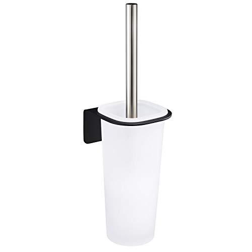 WEISSENSTEIN WC-Ganitur Set mit Bürste, Bürstenhalter aus Glas, schwarzer Edelstahl Halterung zum kleben