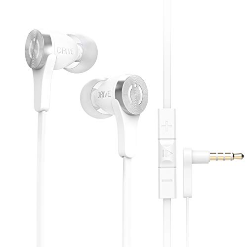 MuveAcoustics Drive Wired in-Ear Earbud Headphones - Noise Cancelling Premium Stereo Headphone Earbuds w/Mic, Ergonomic fit, White