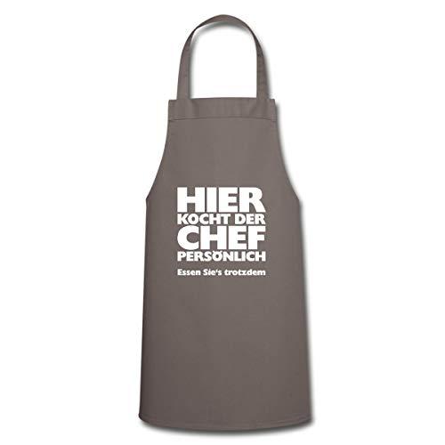 Hier Kocht Der Chef Lustiger Koch Spruch Kochschürze, Grau