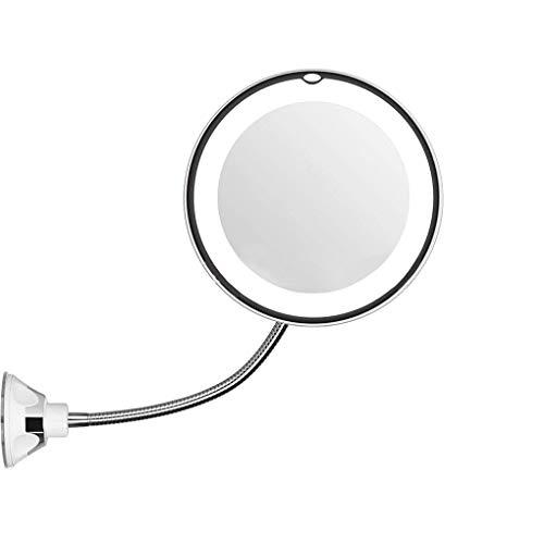 heacker 10X di ingrandimento Trucco Flessibile Specchio LED Illuminato a Collo di Cigno Ventosa Rotazione di 360 Gradi Specchio