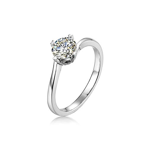 Aartoil Women's 925 Sterling Silver Wedding Engagement Ring Clear Round Cut Cubic Zirconia Size Q 1/2