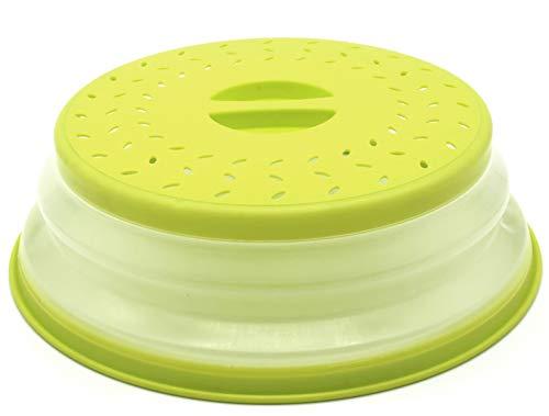Nifogo Mikrowellen Abdeckung Faltbare Mikrowellenabdeckhaube mit Sieb für Obst und Gemüse, BAP-frei und ungiftig (Grün)