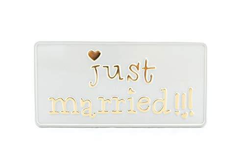 License Plates Shop Kretschmer Just Married US USA matrícula Placa matrícula en Relieve Matrimonio Amor Esposa Marido