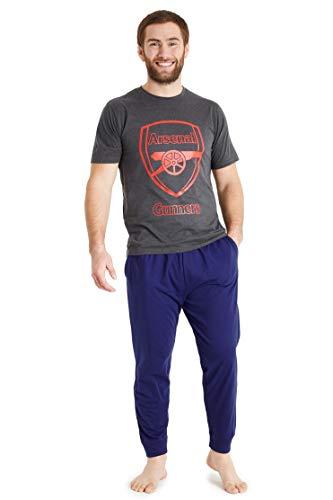 Arsenal F.C. Pigiama Uomo Cotone Lungo, Pigiami A Manica Corta M - 3XL (Grigio, XL)
