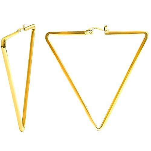Größe Geometrische Ohrringe Creolen aus Edelstahl 316L Hochglanz-Poliert und mit 18k vergoldet für Damen und Girls Dick 1.8 mm (Dreieckig)