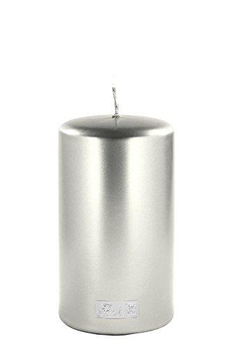 FINK Kerze hochwertige Stumpenkerze metallic stein Grau Höhe: 15 cm / Durchmesser: 8 cm