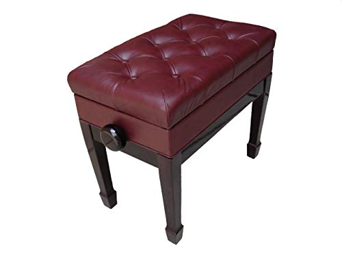 Genuine Leather Adjustable Artist Piano Bench Stool in Mahogany with Music Storage