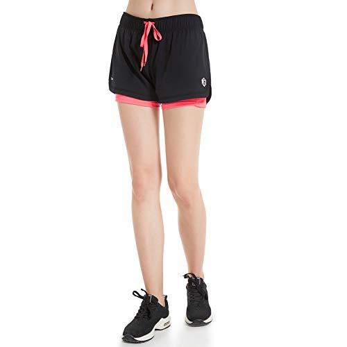 CtopoGo 2 in 1 Damen Laufshorts Yoga Gym Sport Shorts Atmungsaktiv Fitnessshose Outdoor Sporthose Traningshose